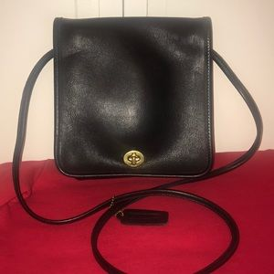 Vintage Coach Black Leather Small crossbody